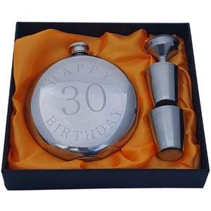 Happy 30th Birthday Flask Gift Set