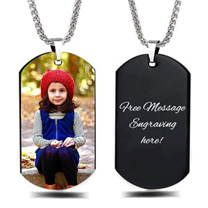 Interway Trading Personalized Custom Photo & Message Necklace Pendant Keychain Dog Tag