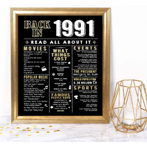 Katie Doodle 30th Birthday Party Decorations Back in 1991 Print, 8x10, Unframed, Black & Gold