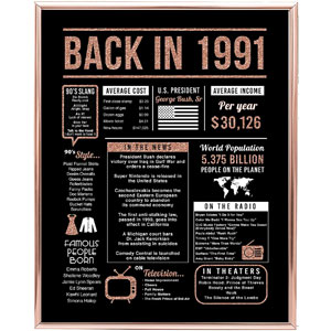 Katie Doodle Rose Gold 30th Birthday Decorations Back in 1991 Print, 8x10, Unframed, Rose Gold
