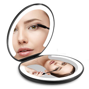 LED Lighted Travel Makeup Mirror, Foldable with Lights