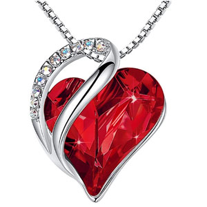Leafael Infinity Love Heart Pendant Necklace Birthstone