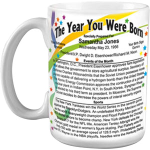 Lets Make Memories Year You Were Born Mug, Personalized with Year and Name