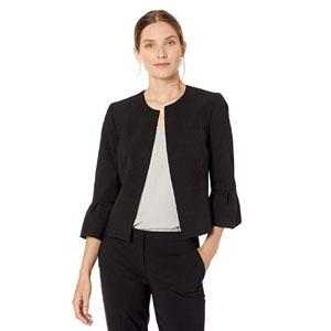 NINE WEST Womens Bell Sleeve Crepe Jacket
