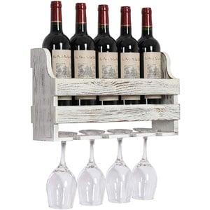 OROPY Rustic Wood Wall Mounted Wine Rack