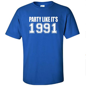 Party Like Its 1991 Adult Short Sleeve T-Shirt