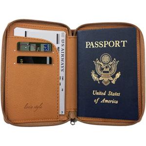 Passport Holder with Zipper Closure and RFID Blocking Security