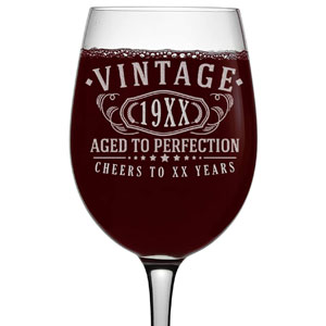 Personalized Age Birthday Etched 16-Oz Stemmed Wine Glass - Vintage Aged to Perfection