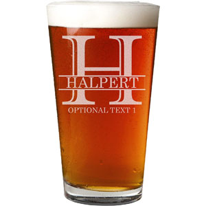 Personalized Etched Monogram 16-Oz Pint Glass