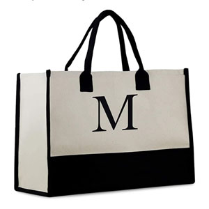 Personalized Monogram Tote Bag with 100% Cotton Canvas