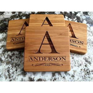 Personalized Wooden Coaster, Set of 6