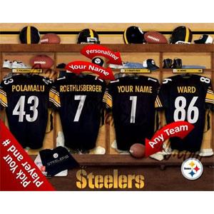 Pittsburgh Steelers Team Locker Room Personalized NFL Photo Print