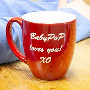 PlaqueMaker Custom Ceramic Bistro Coffee Mug, Personalized Laser-Engraved Text, 16-Oz