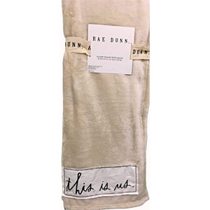 Rae Dunn This is US Ultra Soft Plush Throw Blanket with Embroidered Sentiment Patch, 50x60