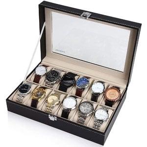 Readaeer 12 Slot Leather Watch Box Display Case