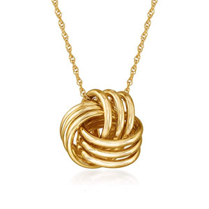 Ross-Simons 14-Kt Yellow Gold Love Knot Pendant Necklace