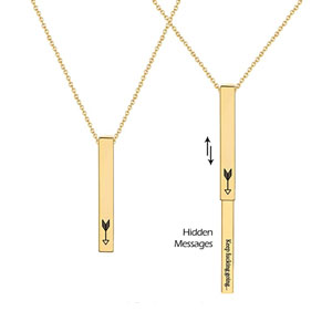 Sloong 14k Gold Plated Personalized Bar Necklace, Hidden Messages Necklace Engrave