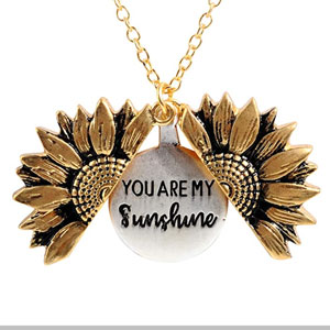 Sloong You Are My Sunshine Engraved Necklace