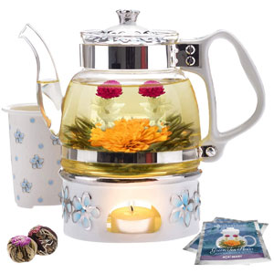 Teabloom Princess of Monaco Teapot & Blooming Tea Gift Set, 6-Pcs