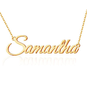 TinyName Personalized 18K Gold Plated Nameplate Necklace