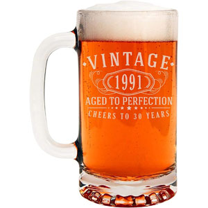 Vintage 1991 Etched 16-Oz Glass Beer Mug - 30th Birthday Aged to Perfection