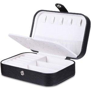misaya Travel Jewelry Case Box Womens PU Leather Jewelry Organizer Holder
