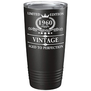 1960 60th Birthday Gifts for Women and Men Glass Vintage Aged To Perfection 60 Year Anniversary Gift Ideas for Mom, Dad, Husband, Wife 60th Class Reunion on Black 20 oz Stainless Steel Tumbler