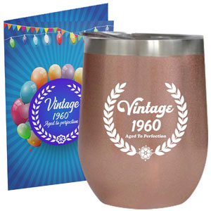 1960 60th Birthday Gifts for Women or Men 12 oz Wine Tumbler Stainless Steel Double Wall Insulated Unique Gift for Her or Him Husband Wife Mom Dad Vintage Aged to Perfection with Lid (Rose Gold)