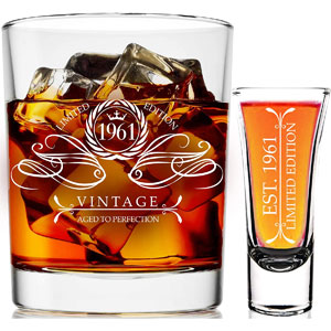 1961 60th Birthday Gifts For Men & Women 9 oz Whiskey Glass and 2 oz Shot Glass, 60th Birthday Decorations for Men, Funny Present Ideas for Her, Wife, Mom, Coworker, Best Friend, Anniversary Man Guys