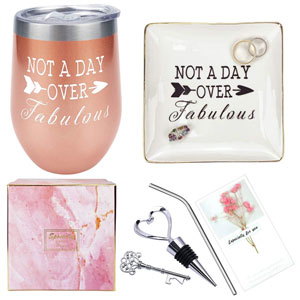 30th 40th 50th 60th Fun Birthday Gifts for Women, Mothers Day Christmas Funny Gifts ideas for Her, Mom, Friend BFF, Grandma, Wife, Aunt, Coworker, nurse Not a Day Over Fabulous Wine Tumbler Ring Dish Gift Box Set