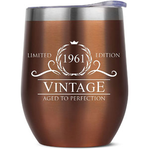 60 Birthday Gifts for Women Men - 1961 Rose Gold Stainless Steel Tumbler - 60 Gift Ideas - 60th Birthday Gifts - 60th Anniversary Gift Cup - 60 Year Old Gift for Women Men - 60th Birthday Gift Ideas