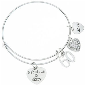 60th Birthday Charm Bracelet, Fabulous and Sixty Birthday Gifts for Women, 60th Birthday Gift Ideas