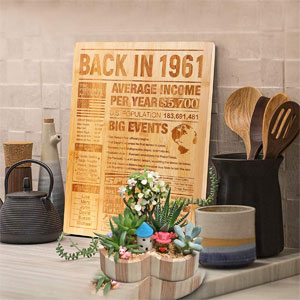 """60th Birthday Gift – Large Bamboo Cutting Board with Laser Engraved """"Back in 1961 Newspaper Poster,"""" 60th Birthday Party Decorations Supplies for Men and Women"""