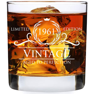 60th Birthday Gifts for Men Women - 1961 Vintage 11 oz Whiskey Glass - 60 Year Old Birthday Party Decorations - Sixtieth Anniversary Presents for Parents Dad Mom - Sixty Class Reunion - Rocks Glasses