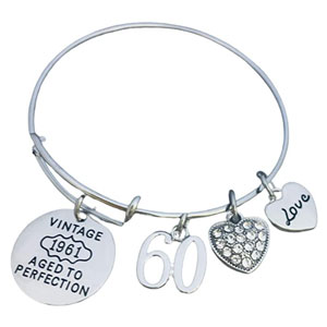 60th Birthday Gifts for Women, 60th Birthday 1961 Aged to Perfection Charm Bracelet, Perfect 60th Birthday Gift Ideas