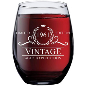 60th Birthday Gifts for Women Men - 1961 Vintage 15 oz Stemless Wine Glass - 60 Year Old Birthday Party Decorations - Sixtieth Anniversary Presents for Parents Dad Mom - Sixty Class Reunion Ideas