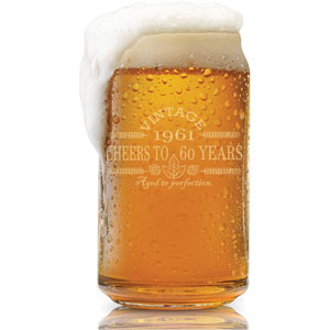60th Birthday- Vintage 1961 Beer Can Glass- Engraved-Vintage-Cheers-Aged To Perfection-Birthday Gift-Etched Beer Glass-Barware (1961 60th Vintage)