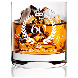 AGMdesign, Funny 60th Birthday Anniversary Whiskey Glasses, Funny Birthday Gift, Scotch Gift Ideas for Men, Women, Dad, Mom, Son, Husband, Brother
