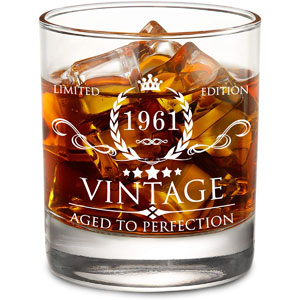 AOZITA 60th Birthday Gifts for Men - 60th Birthday Decorations for Men, Party Supplies - 60th Anniversary Gifts Ideas for Him, Dad, Husband, Friends - 11oz Whiskey Glass