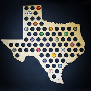 All 50 States Beer Cap Map - Texas Beer Cap Map TX - Glossy Wood - Skyline Workshop - Great Christmas gift!