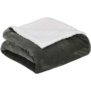Amazon Basics Ultra-Soft Micromink Sherpa Blanket - Full or Queen, Charcoal