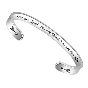 BTYSUN Bracelets for Women Inspirational Gifts for Women Girls Motivational Birthday Cuff Bangle Friendship Personalized Mantra Jewelry Come Gift Box