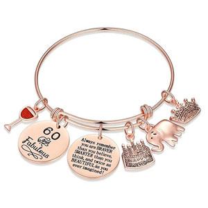 Birthday Gifts for Women Girls Bracelet, Elephant Charm Bracelets 5th 6th 7th 8th 9th 10th 20th 30th 40th 50th 60th 70th 80th Birthday Gift for Friend, Mom, Daughter, Granddaughter Niece, Grandma