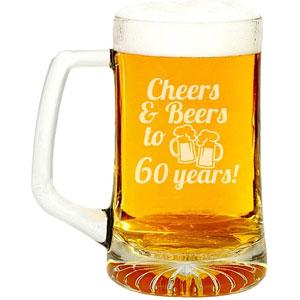 Cheers & Beers To 60 Years Engraved Glass Beer Mug 15-ounce
