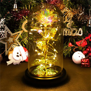 Colorful Artificial Flower Rose Gift, Led Light String on The Colorful Flower,Lasts Forever in A Glass Dome,Unique Gifts for Women, Christmas, Wedding,Valentines Day, Anniversary and Birthday