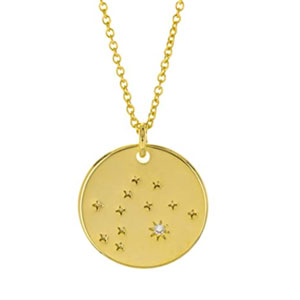 Columbus 14K Gold Plated Astrology Horoscope Constellation Zodiac Coin Necklace