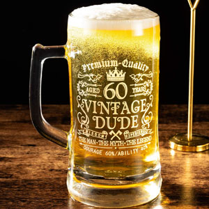 Crisky 60th Birthday Vintage Dude Beer Mug for Men 60 Years Old Gift 21 oz Birthday Beer Glass for Him, Husband, Father, Brother Friends Uncle Coworker, Large Capacity Beer Mug Gift, with Box
