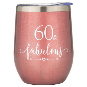 Crisky Rose Gold 60 & Fabulous Wine Tumbler for Women 60th Birthday Gifts for Women, Wife, Mom, Sister, Aunt, Friends, Coworker Her, Vacuum Insulated Coffee Cup,12oz with Box, Lid, Straw