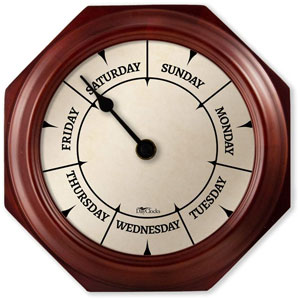 """DayClocks Classic Day Clock – Day of The Week Clock – Day to Day Clock with Noon & Midnight Markers – Unique & Fun Retirement Gift – 9.5"""" Mahogany Wall Clock"""