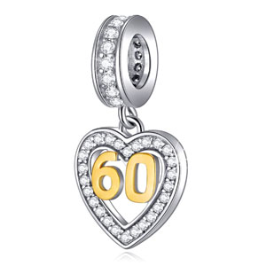 EMOSTAR 16 18 20 21 25 28 30 40 45 50 60 Birthday Charms fit European Bracelet, Dangle 18K Golden Number Heart Pendant with CZ, Anniversary Gifts for Women/Girls